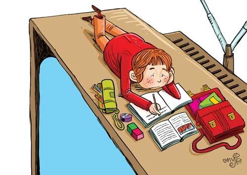 بی علاقه گی در نوشتن تکالیف مدرسه